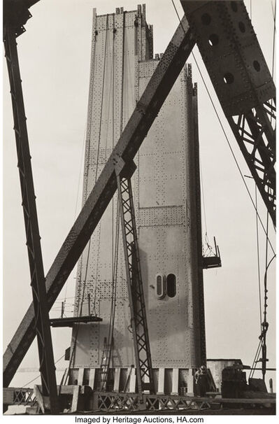 Peter Stackpole, 'Hoisting a Cable Spool, San Francisco; Untitled; and Oakland Bay Bridge', circa 1935