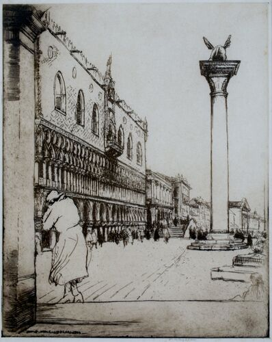 Donald Shaw MacLaughlan, 'Sunlit Facades, Venice, Second State', 1922
