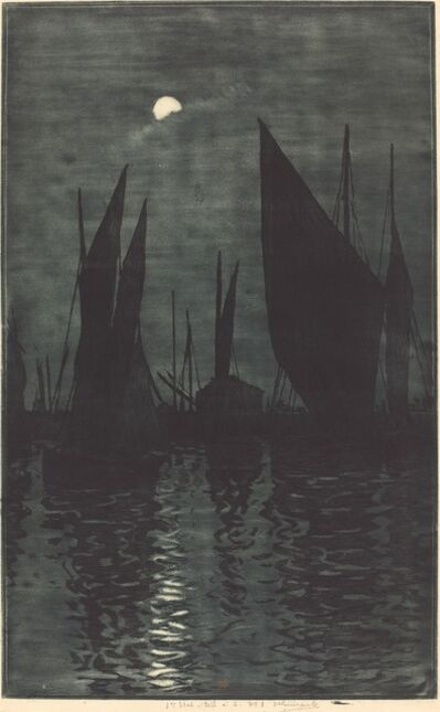Henri-Charles Guérard, 'Moonlight in the Harbor at Dieppe', ca. 1885