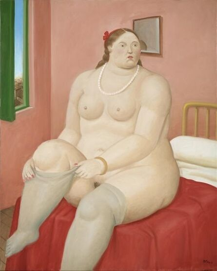 Fernando Botero, 'Woman pulling her tights', 2014