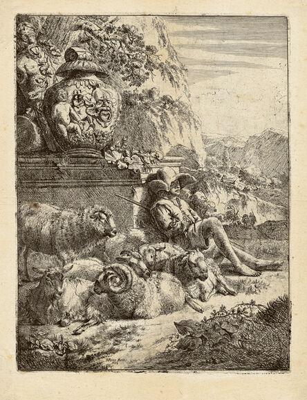 Johann Heinrich Roos, 'Resting Shepherd Leaning against a Pedestal. ', ca. 1660/64