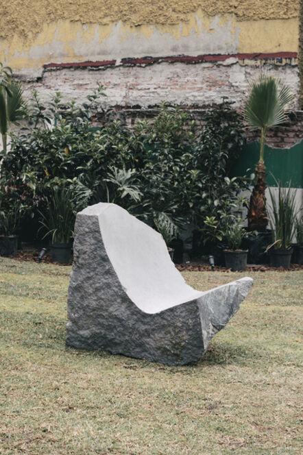 Mario García Torres, 'Tallé la forma del Miguelito en esta piedra para poder sentir su energia en todo el cuerpo', 2020