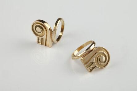 Stanley Tigerman, 'Pair of capital gold rings', 1984-1986