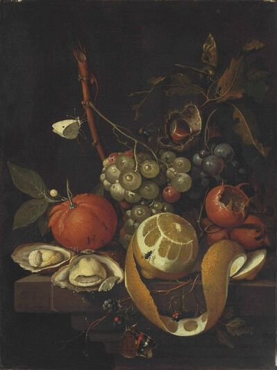 David Cornelisz. de Heem, 'Grapes, a lemon, oysters, a chestnut, blackberries and other citrus fruits on a stone ledge with butterflies, a fly, a bee and ants'