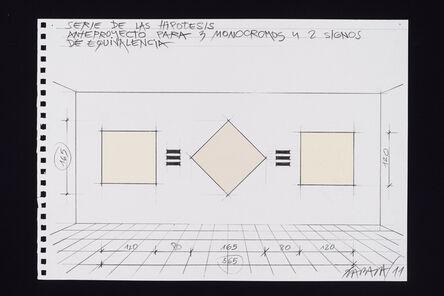 Horacio Zabala, 'Anteproyecto para tres monocromos y dos signos de equivalencia', 2011