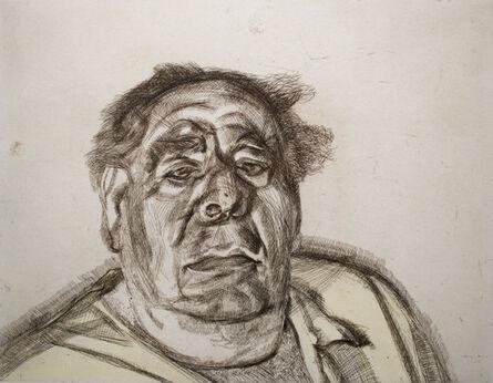 Lucian Freud, 'Lord Goodman in his yellow pyjamas', 1987
