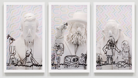 Brian Bress, 'Rabbis #1 (on pastel gift wrap)', 2018