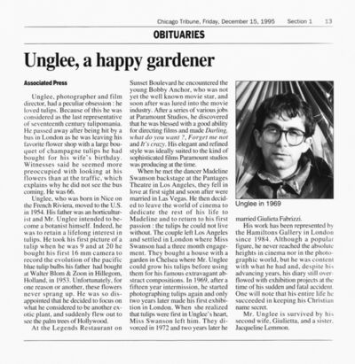 Unglee, 'Unglee, tulips were what his life is all about', 1995