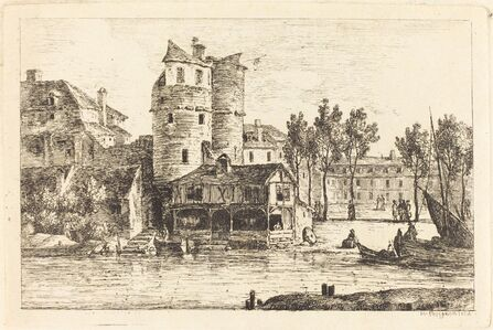 Nicolas Pérignon, 'Town on a River Bank with Two Round Towers', ca. 1770