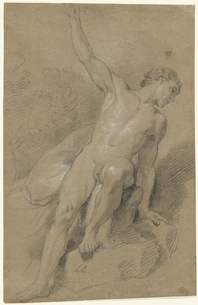 Louis de Boullogne the Younger, 'Male Nude Seated on Rocks', ca. 1710