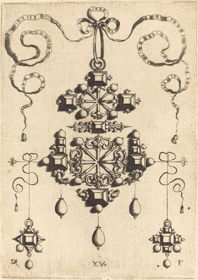Daniel Mignot, 'Pendant with Two Double Crosses, Surrounded by Four Diamond-Shaped Stones, Five Table-Stones, and Thirteen Pearls'