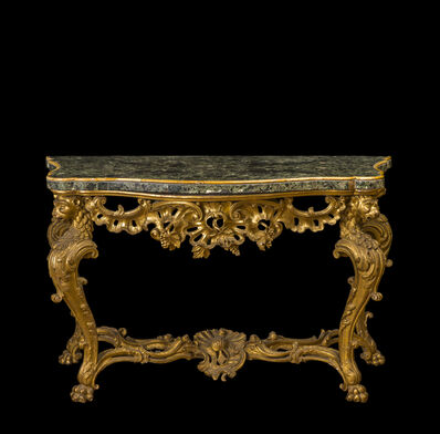 Roman workshop, 'Console in carved, inlaid and gilded wood, top with curvy outline in greek Verde Antico marble edged with Giallo Antico marble', 1770-1780