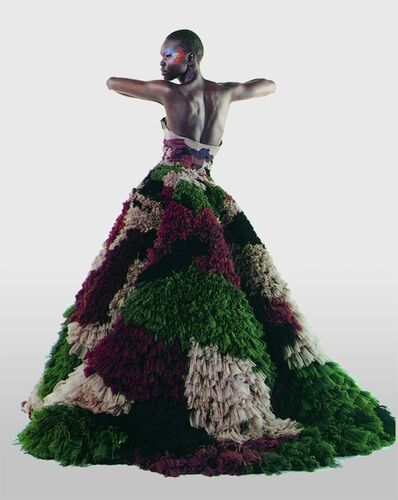 """Karl Lagerfeld, 'Untitled (Alek Wek) Numéro, March 2000 (""""Dubar"""" gown from Jean Paul Gaultier's """"Romantic India"""" women's spring-summer haute couture collection of 2000) Photograph by Karl Lagerfeld', 2000"""