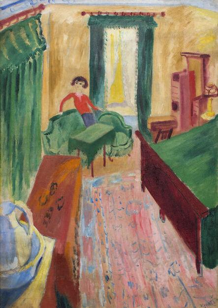 Sigrid Maria Hjertén, 'Interiör - Ivan i gröna soffan', 1915