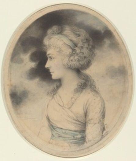 John Downman, 'Portrait of a Woman with a Blue Sash', 1791