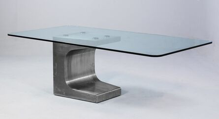 Oscar Niemeyer, 'Large stainless steel table with beveled, thick-walled glass', 1984