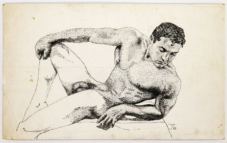 John S Barrington, 'Athletic Nude Model in Repose', 1962