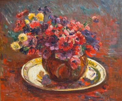 George-Daniel de Monfreid, 'Floral Still Life and Brass Platter'
