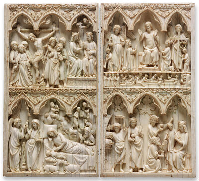 'Diptych with scenes of the the Nativity, the Crucifixion, and the Last Judgement, French', 1275-1325