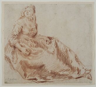 Jean-Baptiste Joseph Pater, 'Study of a Seated Woman', 1730
