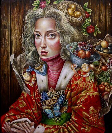 Luis Enrique Toledo del Rio, 'Delusions in Red', oil on wood panel