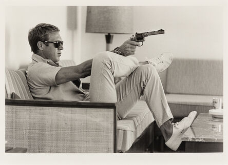 John Dominis, 'Steve Mcqueen Aims a Pistol in His Living Room, CA (printed 2014)', 1963