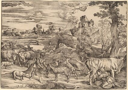Niccolò Boldrini after Titian, 'Landscape with a Milkmaid', 1530s