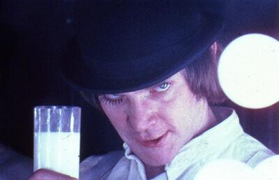 Stanley Kubrick, 'A Clockwork Orange, directed by Stanley Kubrick (1970-71; GB/United States). Alex DeLarge (Malcolm McDowell) in the Korova Milkbar.', 1970-1971