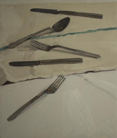 Carrie Mae Smith, 'Flatware on a tea-towel', 2013