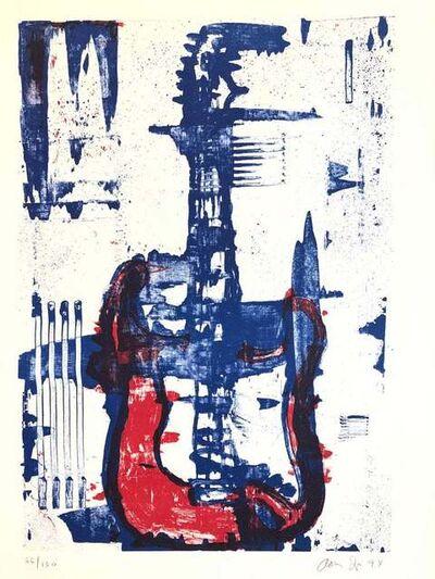 Aaron Fink, 'Modernist Lithograph Red, White, Denim Blue Guitar Aaron Fink Pop Art Americana ', 1980-1989