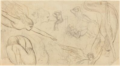 Thomas Stothard, 'Sheet of Studies with Angels and Cowering Figures'
