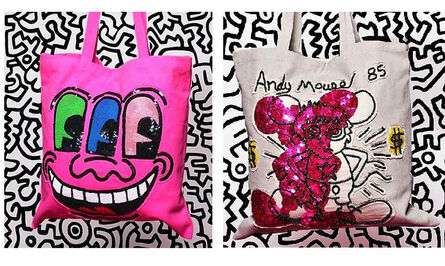 """Keith Haring, 'SET of 2-  """"ANDY MOUSE"""" (taupe) & """"3-EYES"""", Prototype Tote Bags, 2010, House of Patricia Field's, Hand Crafted Sequin/Beaded, RARE', 2010"""
