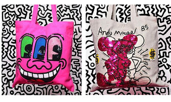 """Keith Haring, ' """"ANDY MOUSE"""" (taupe) & """"3-EYES"""", Two Prototype Tote Bags, 2010, House of Patricia Field's, Hand Crafted Sequin/Beaded, RARE', 2010"""