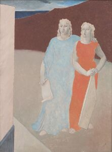 Glyn Philpot, 'Two Muses at the Tomb of a Poet', 1937