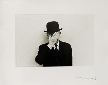 Duane Michals, 'Magritte with Hand Over Face Exposing One Eye', 1965
