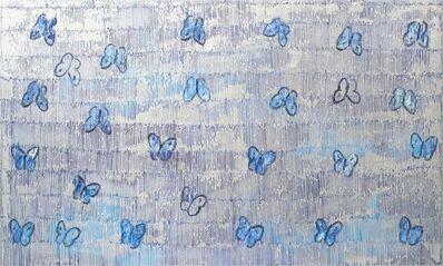 Hunt Slonem, 'Butteflies on silver', 2020