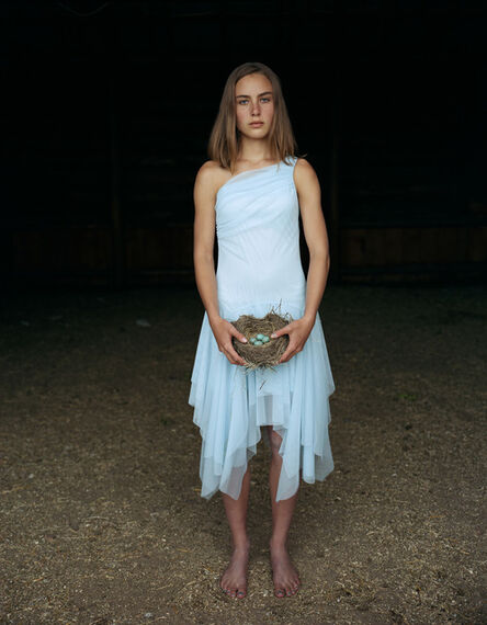 Laura McPhee, 'Mattie Holding a Robin's Nest, in Her Eighth Grade Graduation Dress Laverty Ranch, May 2005, Idaho 2/5'