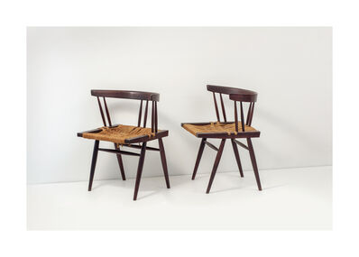 George Nakashima, 'Grass-seated Chairs, set of 2 ', 1964-1970