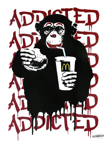 Thirsty Bstrd, 'Fast Food Monkey – McDonald's Red', 2016