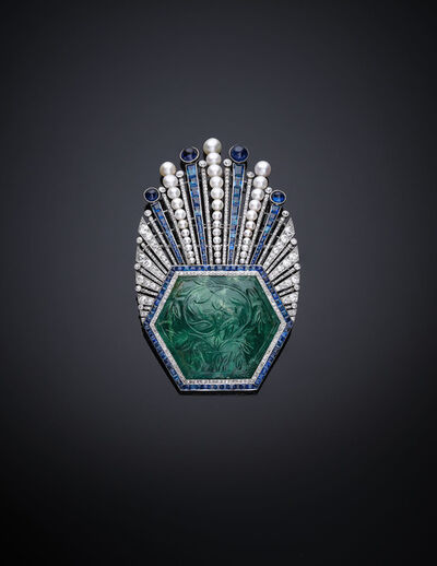 The Al Thani Collection, 'Aigrette Robert Linzeler, Paris, 1910. Designed by Paul Iribe', Emerald, India, ca. 1850–1900.