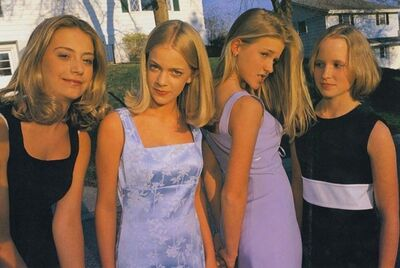 Lauren Greenfield, 'Alli, Annie, Hannah and Berit, all 13, Before the First Big Party of the Seventh Grade, Edina, Minnesota, 1998', 1998