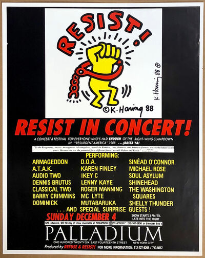"""Keith Haring, 'Resist! in Concert: A Concert and Festival for Everyone Who Has Had Enough of the Right Wing Clampdown in """"Resurgent America."""" Sunday, December 4', 1988"""