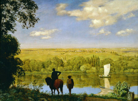 Hans Thoma, 'Mainlandschaft: Landscape with a Horseman on the Main', 1890