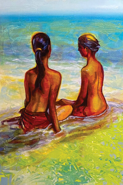 Barbara Able, 'The Shoreline - Beach, figures, bright colors', 2020