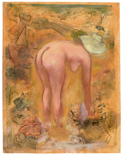 George Grosz, 'Artist and Model in the Dunes', 1940