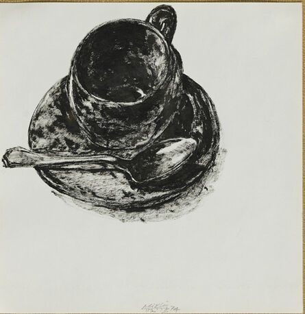 Avigdor Arikha, 'Red Cup and Silver Spoon', 1974