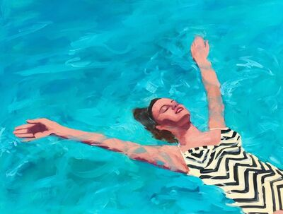 """T.S. Harris, '""""Watery Delight"""" Woman in Vintage black and white Chevron Bathing Suit Swimming in Turquoise water', 2010-2017"""