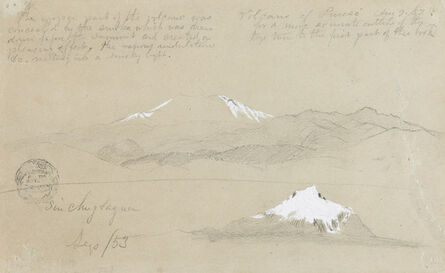 Frederic Edwin Church, 'Views of Purese Volcano, Colombia and Mt. Sincholagua, Ecuador', 1853