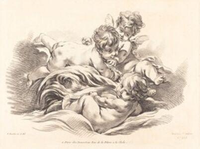 Gilles Demarteau, the Elder after François Boucher, 'Three Cherubs Playing on Dolphin Like Wave'