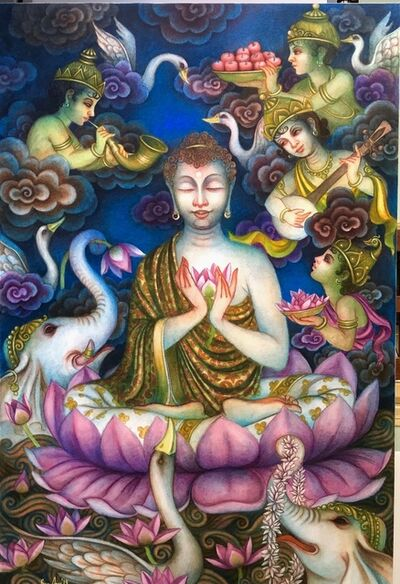 """Bratin Khan, 'Nirvana, Tempera on Canvas, Blue, Red, Pink by Contemporary Artist """"In Stock""""', 2015-2020"""